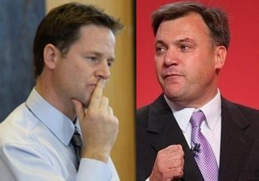 Nick Clegg and Ed Balls: Kissing and making up