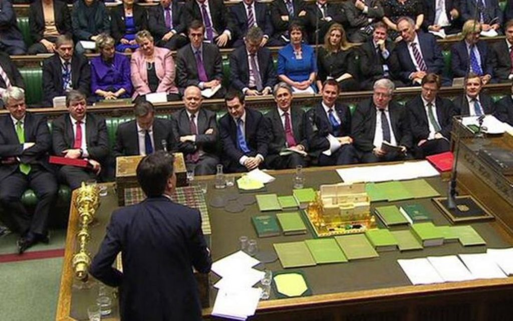 Not a woman in sight: The government front bench sits across from Ed Miliband with an all male team