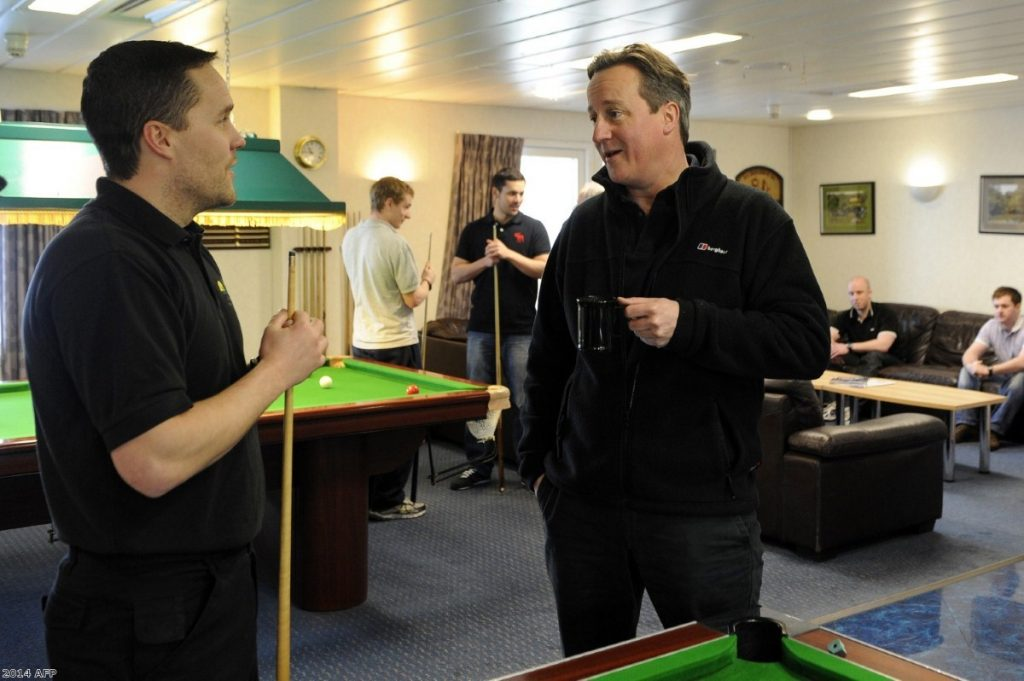 David Cameron meeting a worker