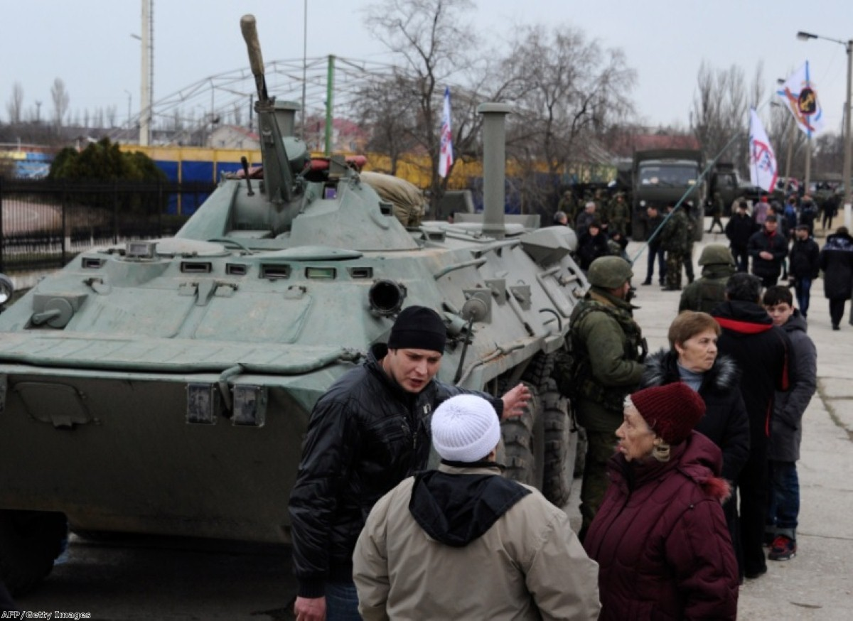A Russian tank in the Crimea, where Putin's military intervention is raising diplomats' temperatures across the globe