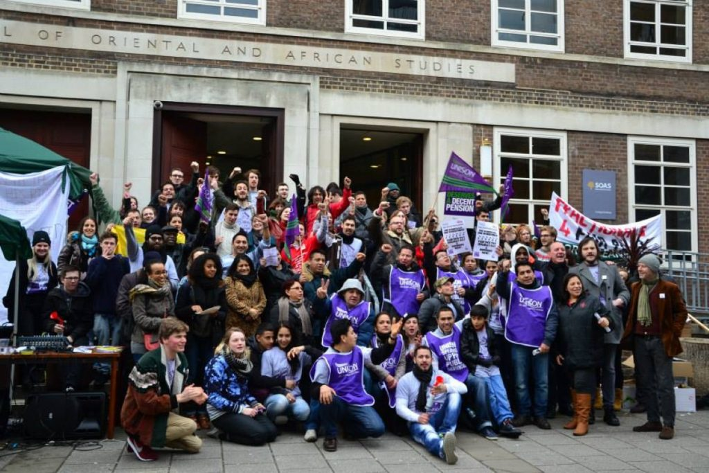 SOAS cleaners on strike.Justice 4 Cleaners are one of the signatories to the Isabella Acevedo letter.