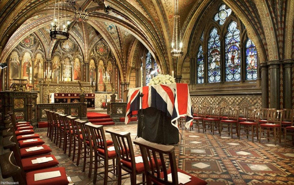 Margaret Thatcher is the only other politician to have 'rested' in the Westminster chapel overnight