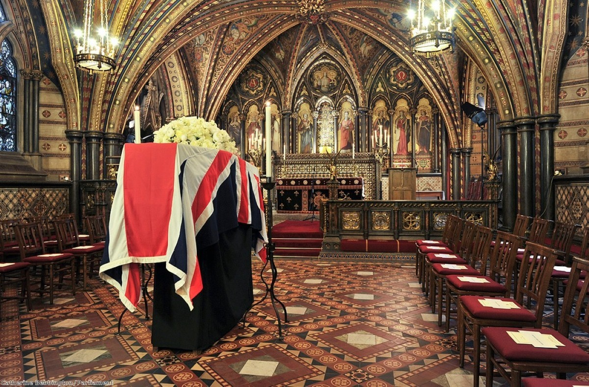 Margaret Thatcher's coffin lies in the St Mary Undercroft chapel in the Commons last year
