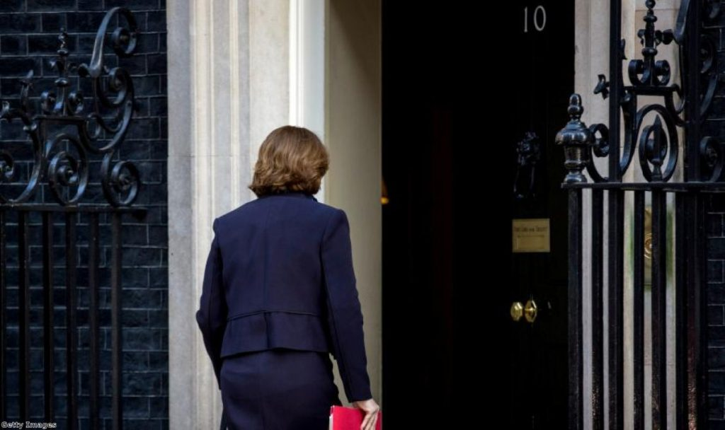 Maria Miller arriving at No 10 on Tuesday for her last Cabinet meeting