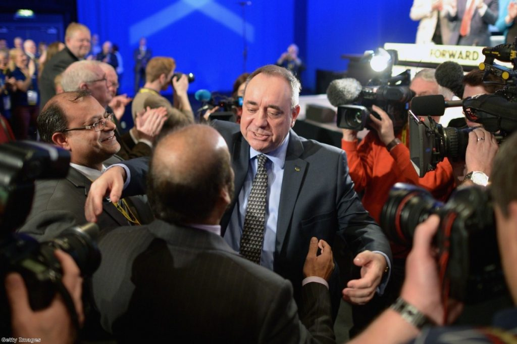 Salmond is enjoying strong coverage but polling suggests the 'no' lead holding firm
