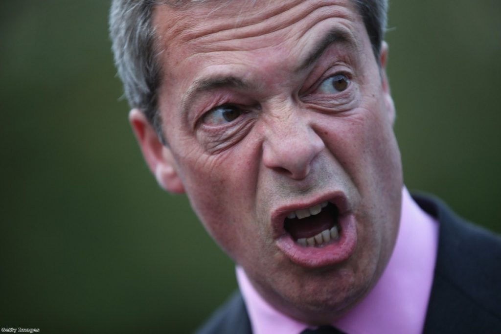Farage at a Basingstoke meeting recently. The party's posters have been branded divisive and racist.