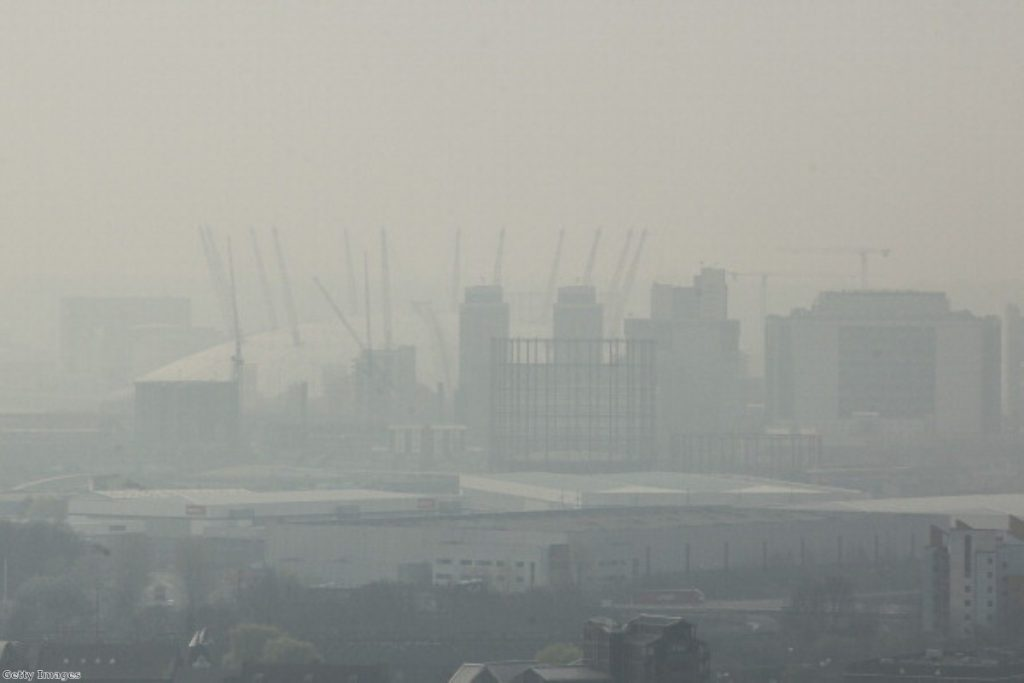 Traffic pollution hanging over East London earlier this year.