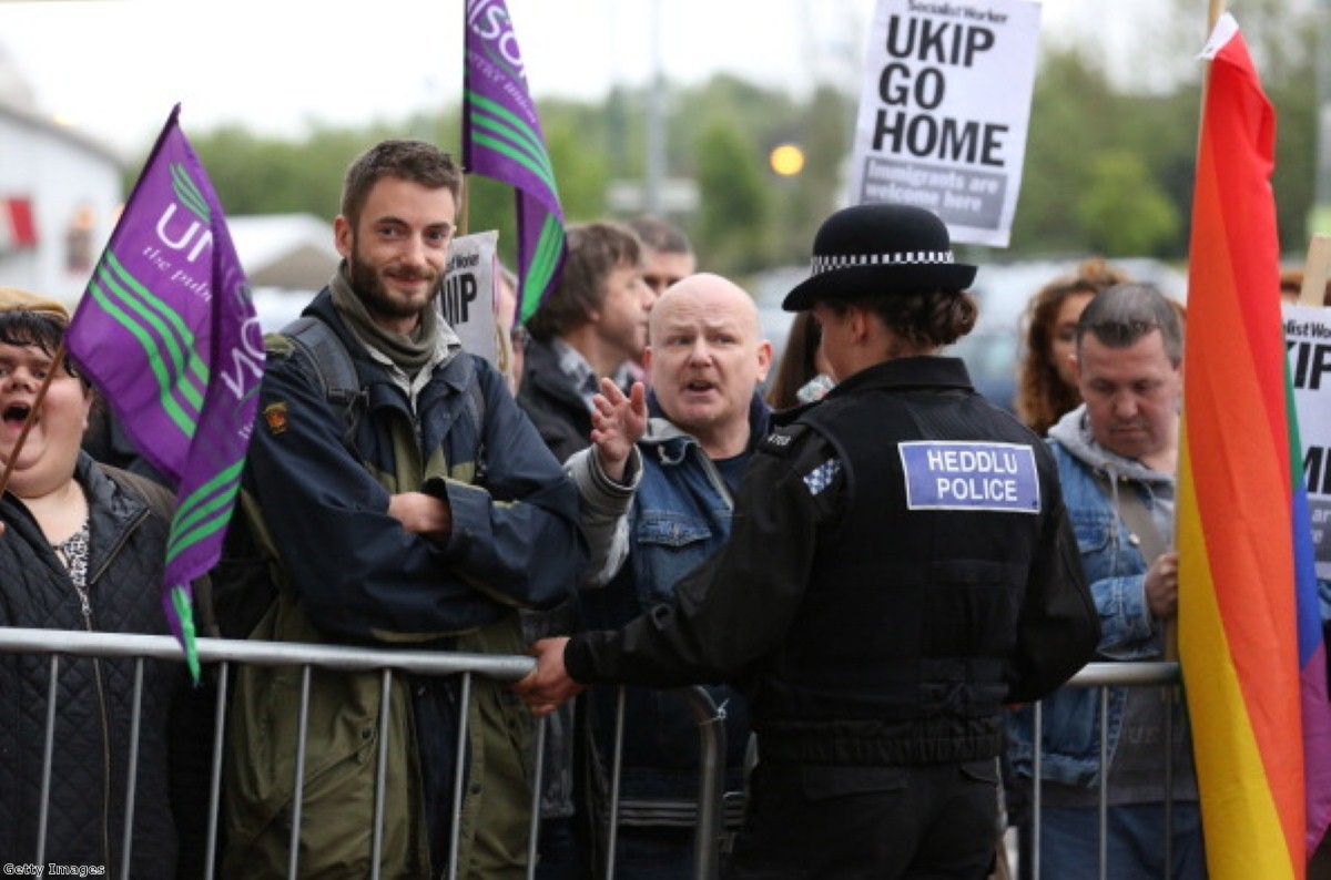 Anti-fascist protestors should be prosecuted for hate crime, say Ukip.