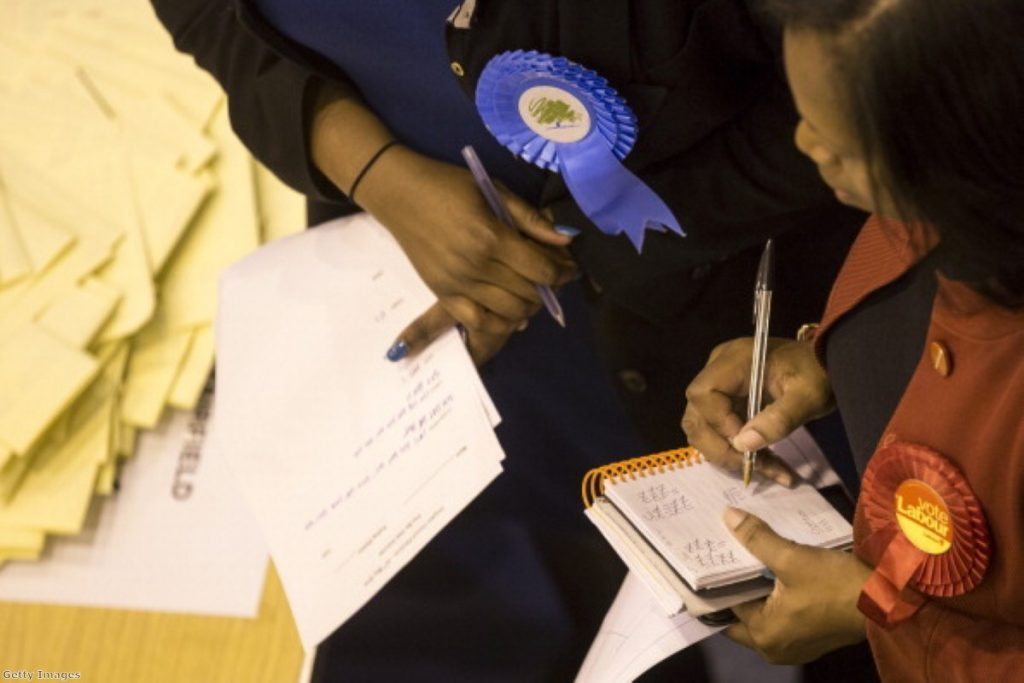 Candidates verifying votes at the Croydon council elections last week