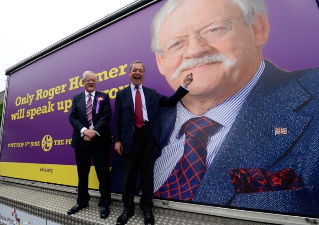 Roger Helmer (l) with Nigel Farage on the campaign trail in Newark