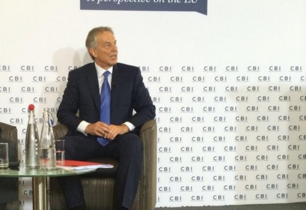 Tony Blair takes questions at the CBI