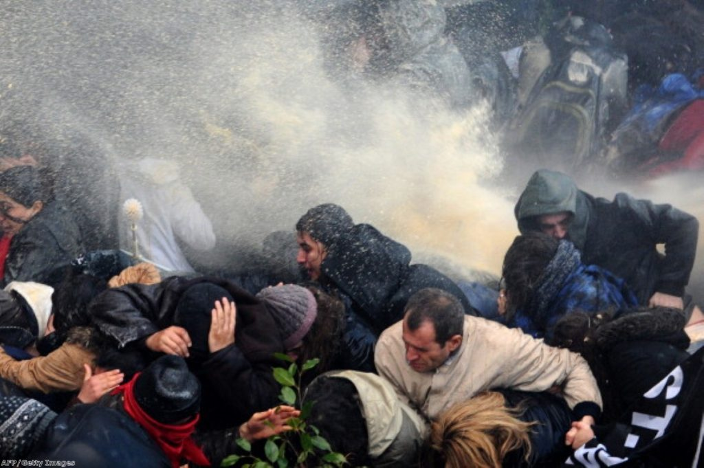 Water cannon being used against anti-government protesters in Turkey.