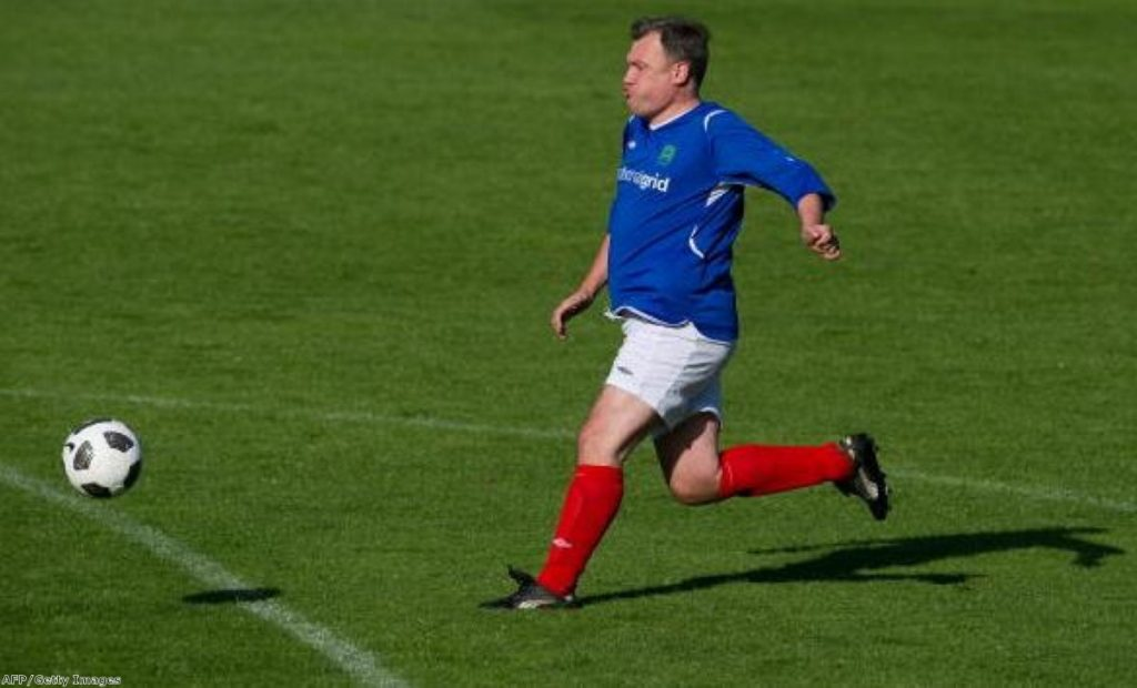 Ed Balls in footballing mode