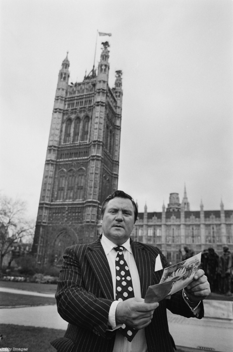 Dickens outside parliament just after he used parliamentary privilege to name British diplomat Peter Hayman as a paedophile