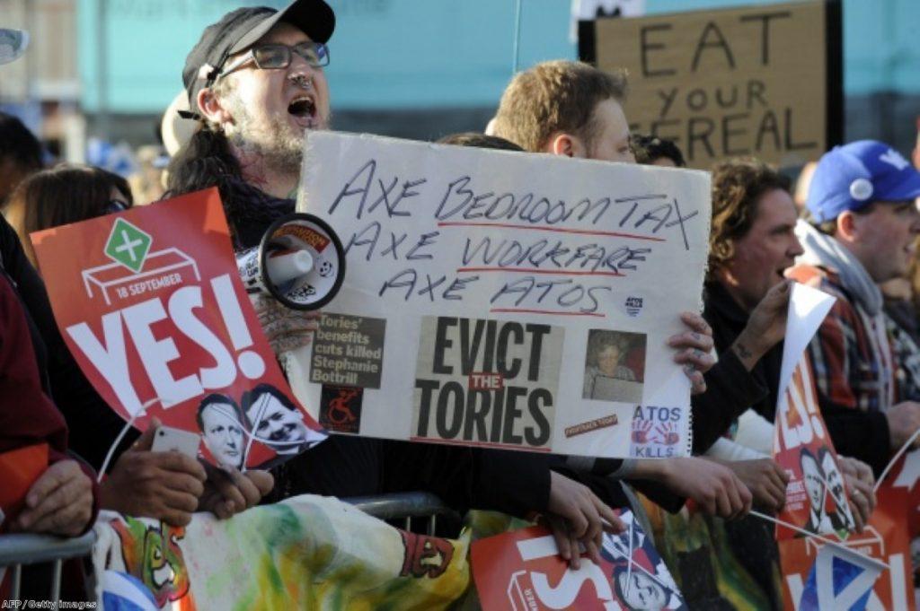 Protesters gather as David Cameron makes a rare visit to Scotland.