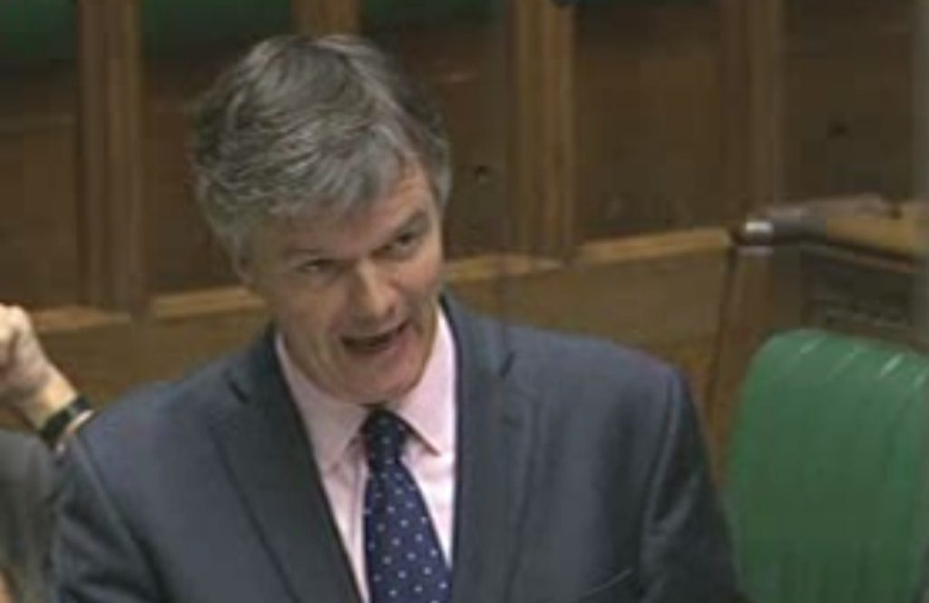 Michael Moore speaks in the Commons chamber during the second reading debate of his overseas aid bill