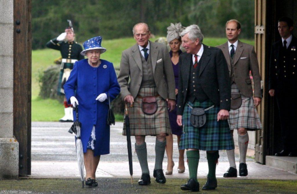 The Queen visiting Balmoral in Scotland.