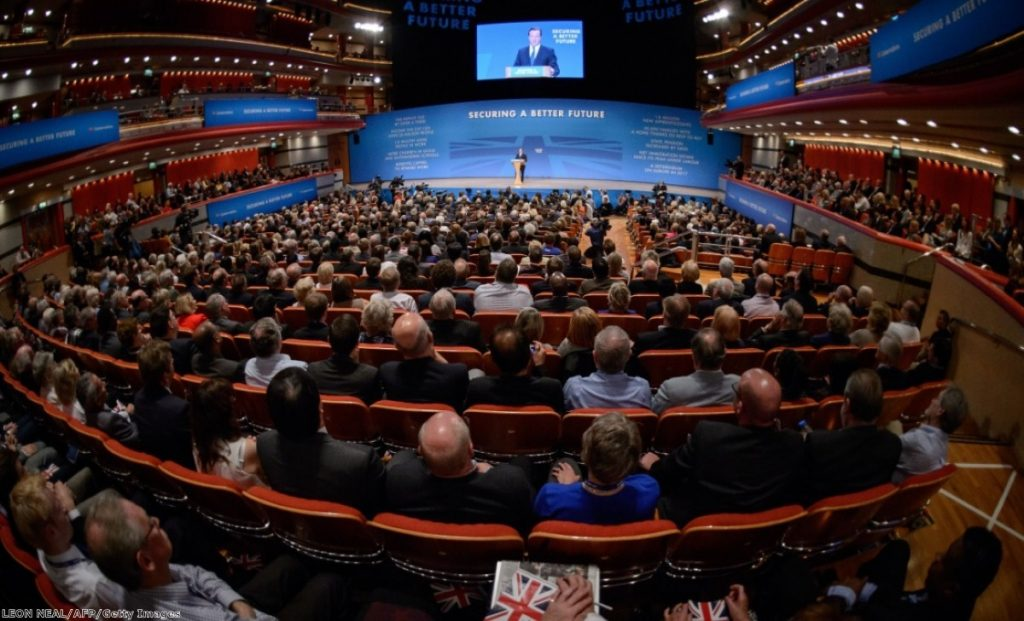 Conservative party members listen to David Cameron in Birmingham, October 2014