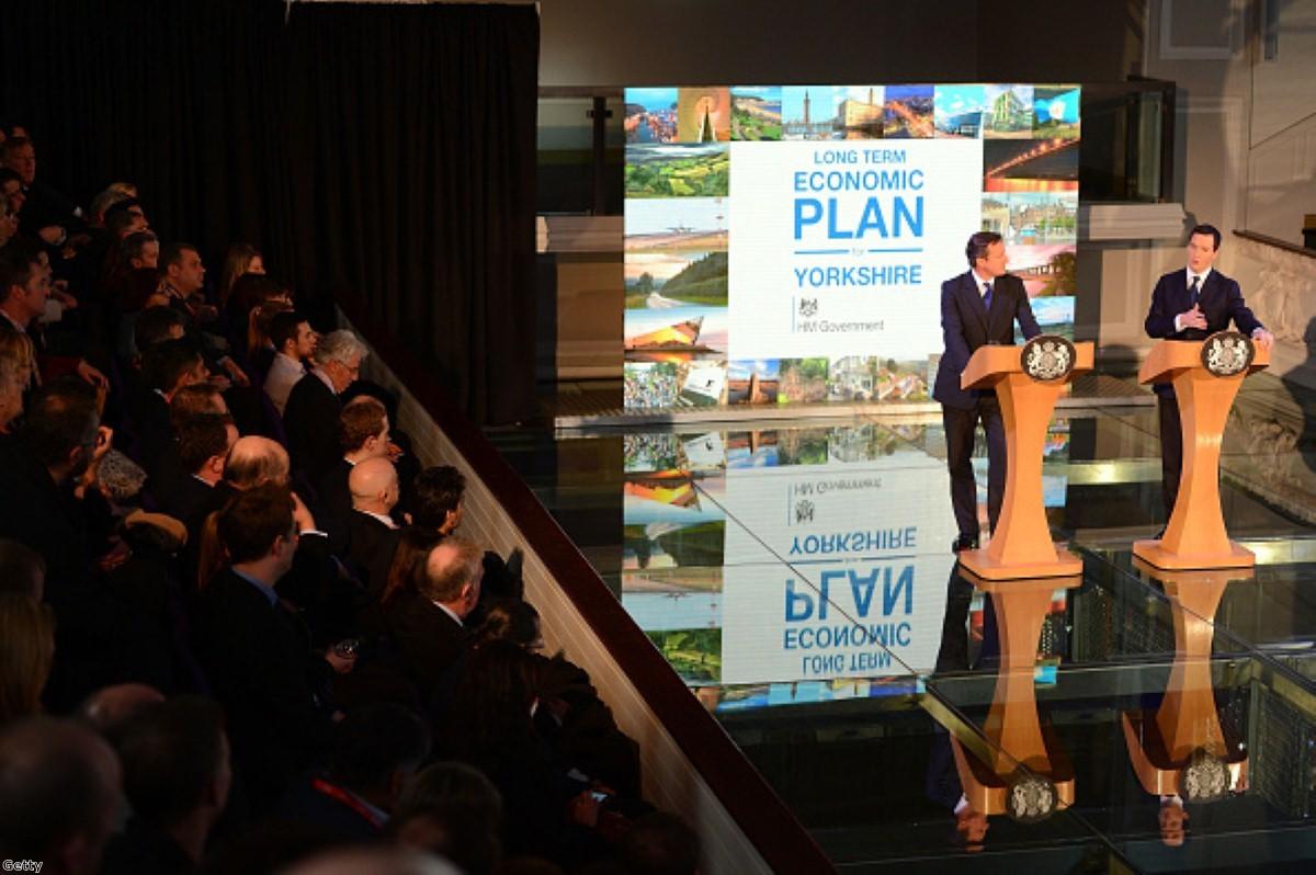 David Cameron and George Osborne address business leaders in Leeds