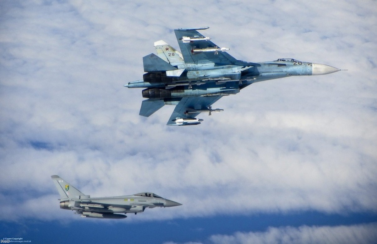 An RAF Typhoon supports a Russian jet in airspace close to the Baltic states