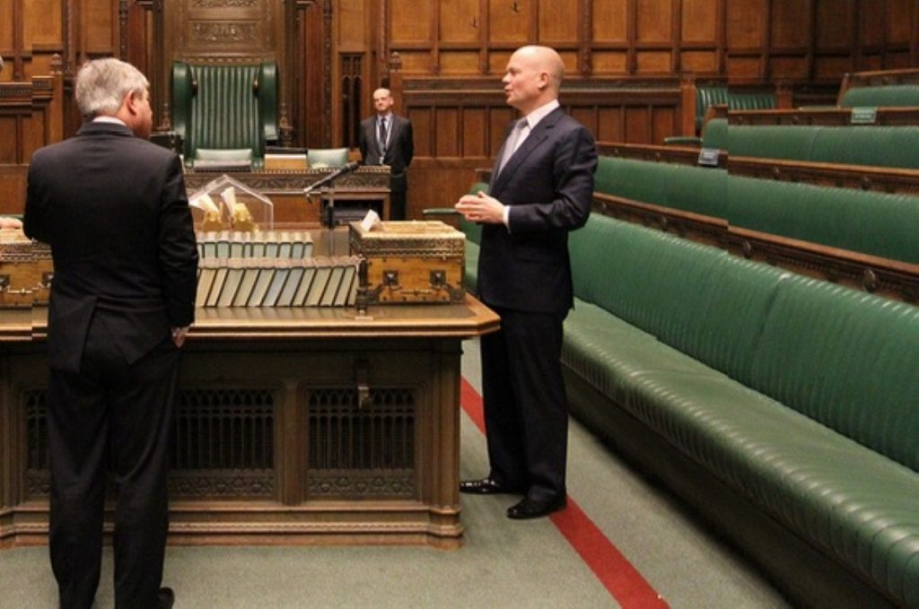 John Bercow (l) with William Hague in the Commons chamber