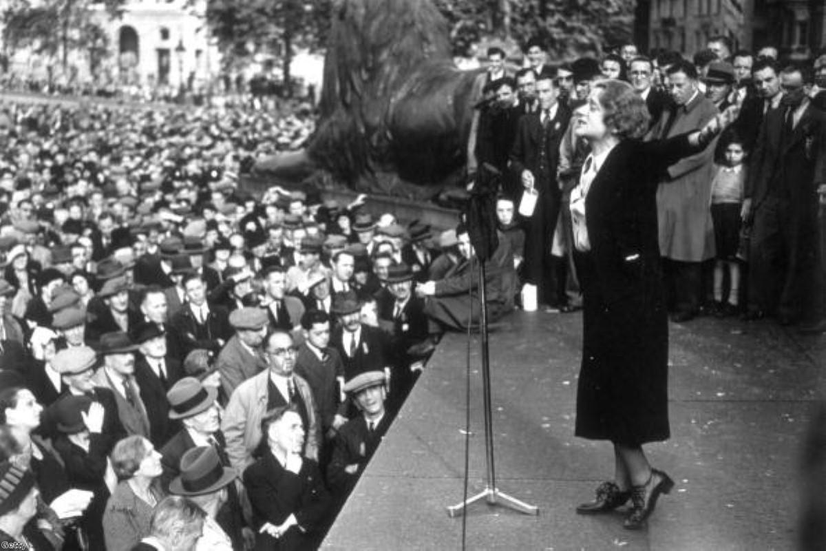 Labour MP Ellen Wilkinson addressing a demonstration in Trafalgar Square, 1938
