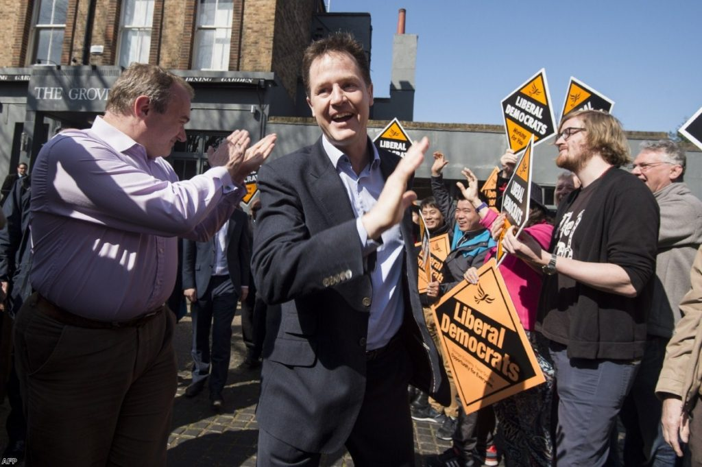 Happy Clegg: The Lib Dem leader has nothing left to lose