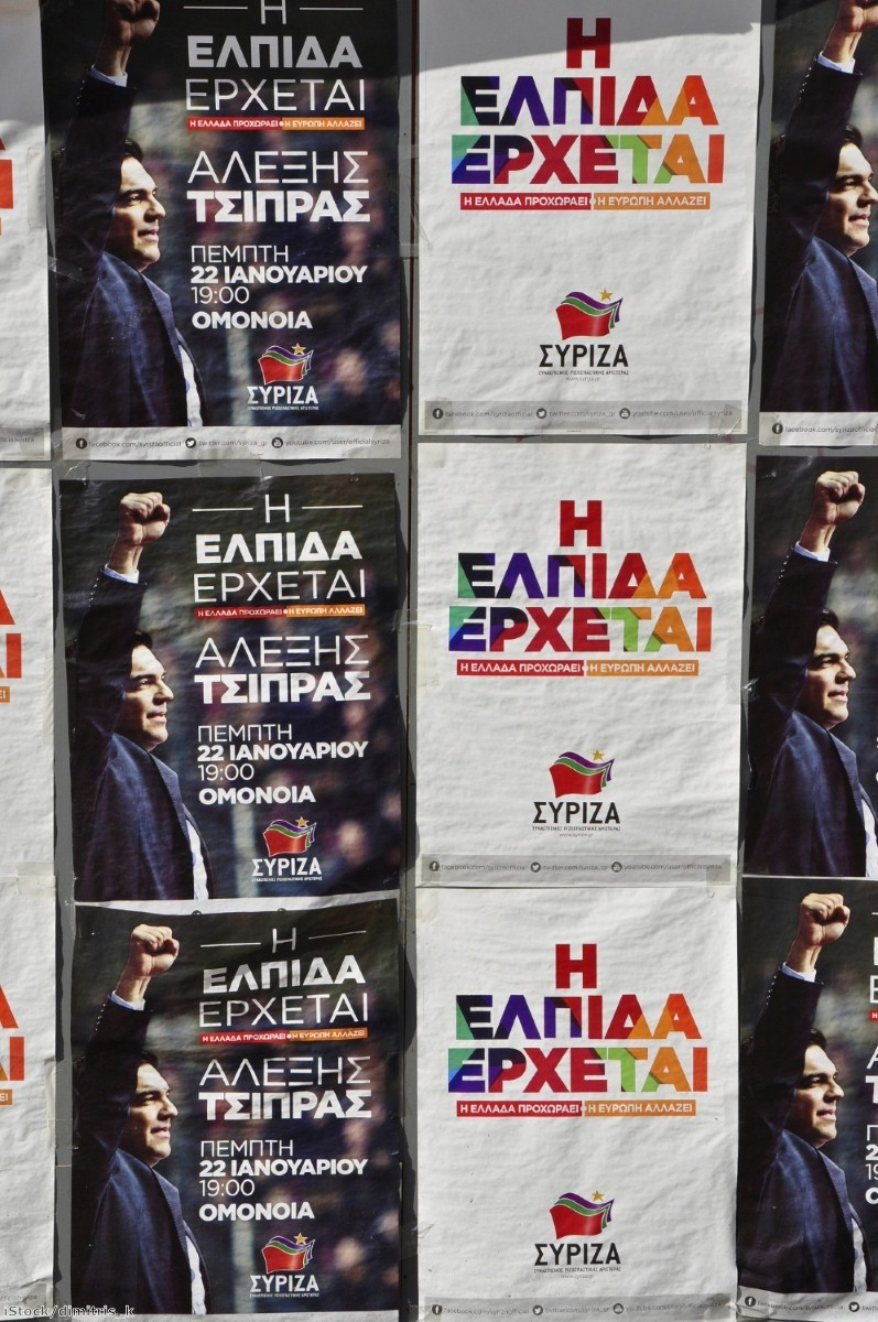 Syriza posters in Greece - but some believe the austerity package forced on the country is a punishment for electing the party