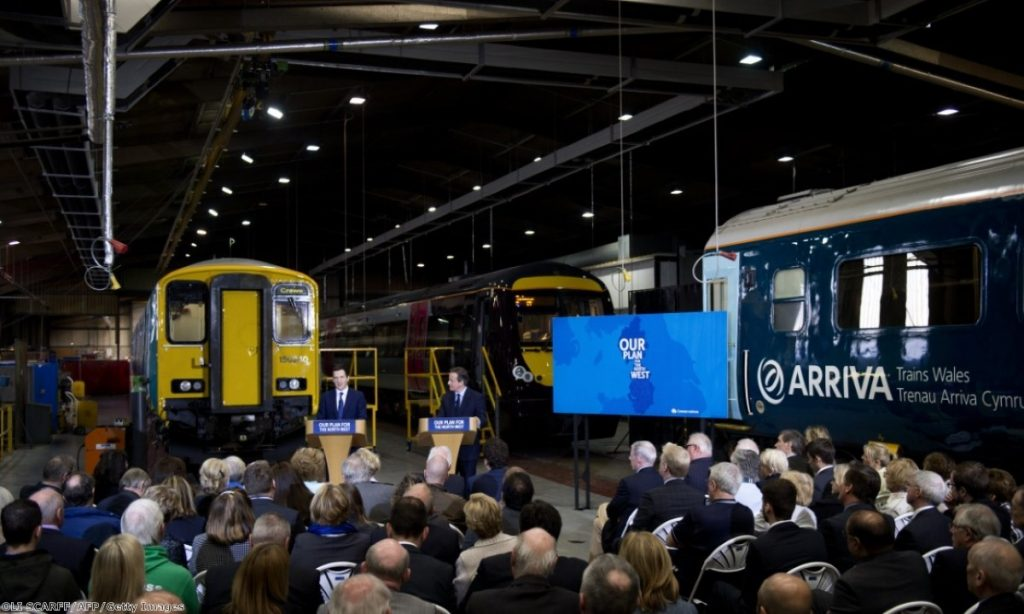 George Osborne and David Cameron speak at a Conservative campaign event