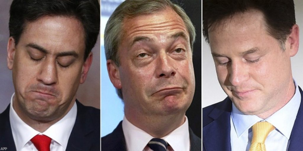 Ed Miliband, Nigel Farage and Nick Clegg: Two down, one out