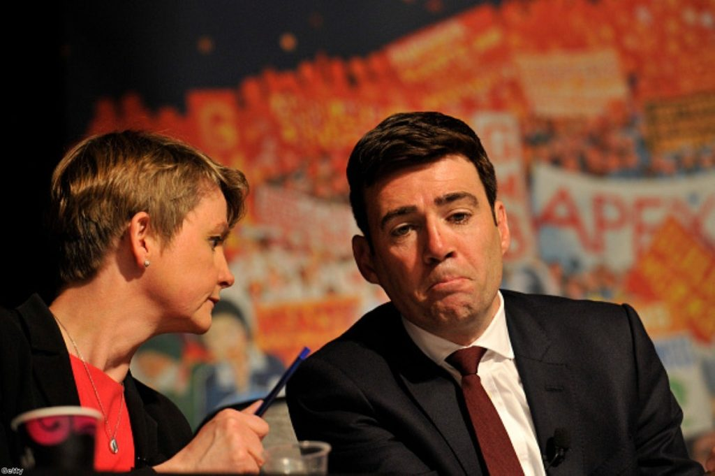 Andy Burnham and Yvette Cooper at the Labour leadership hustings in Dublin