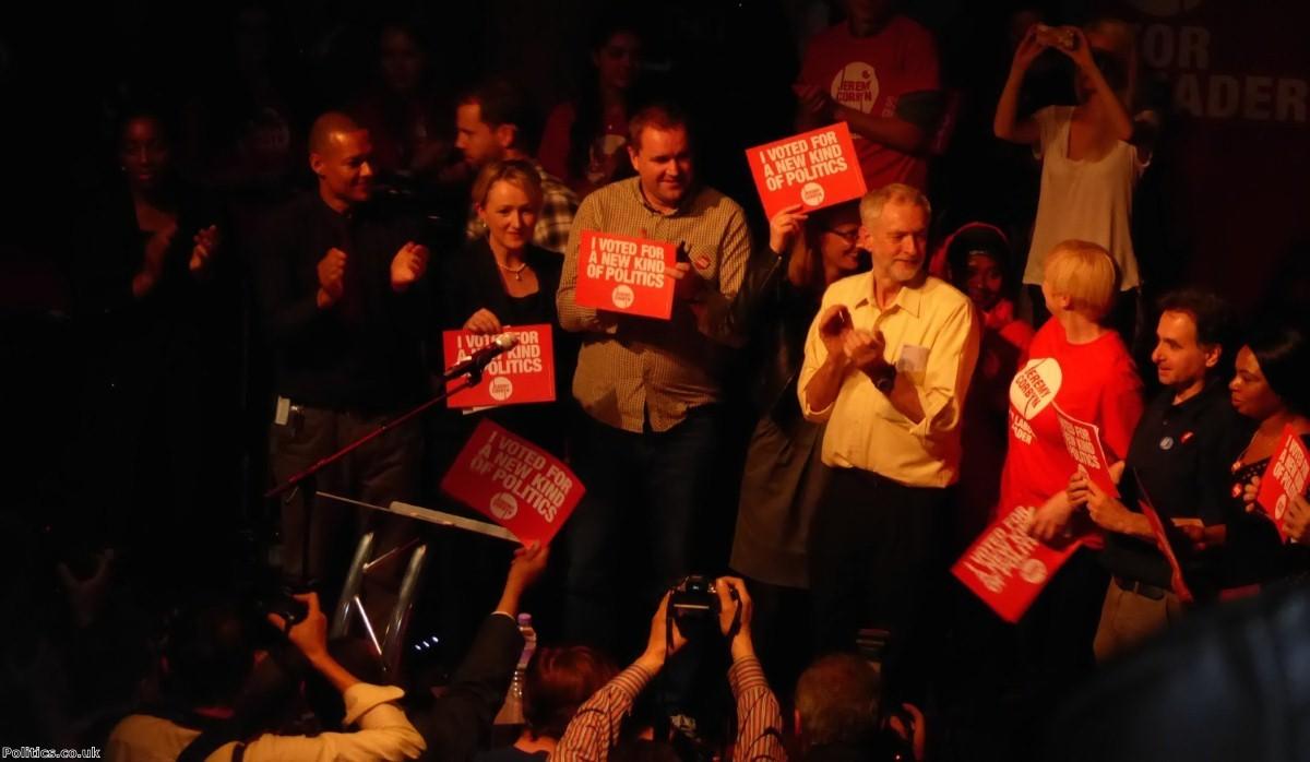 Jeremy Corbyn rallies the Islington faifthful in a pre-victory rally
