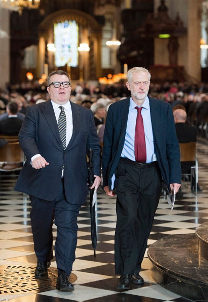 Jeremy Corbyn attends a memorial service for the 75th anniversary of the Battle of Britain