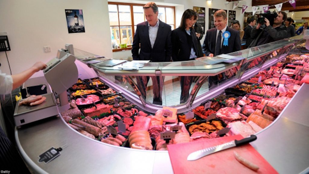 David Cameron admiring some meat products on the campaign trail