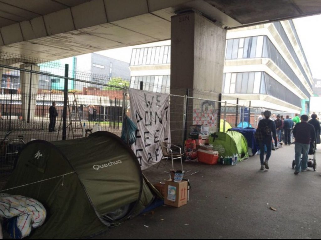 The rough sleepers say they feel safer camping together in tents
