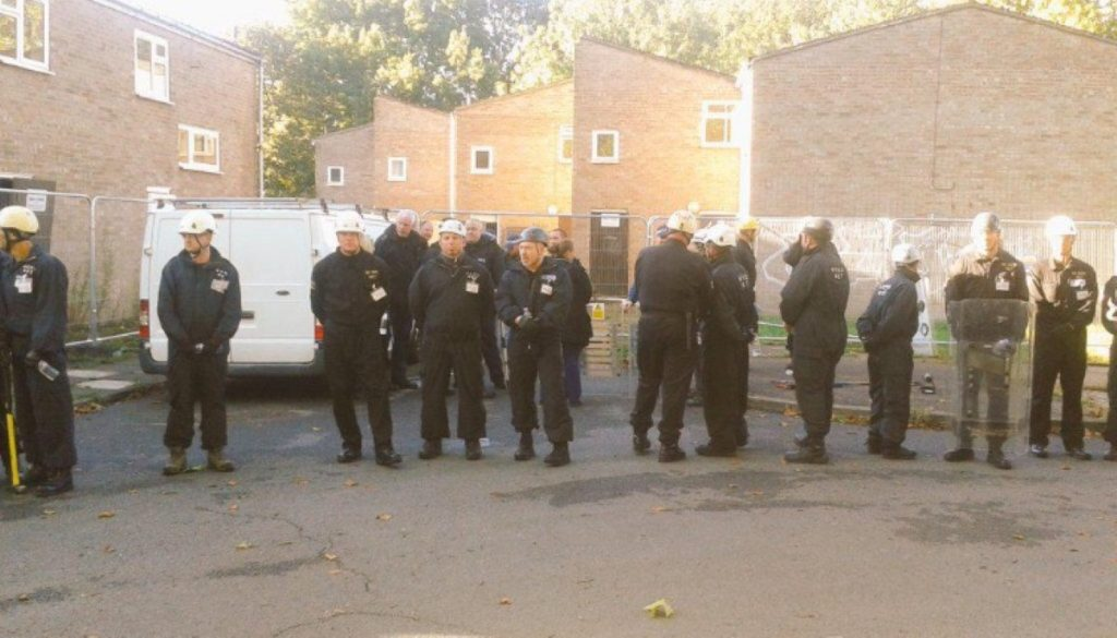 Bailiffs move on to the Sweets Way estate this morning