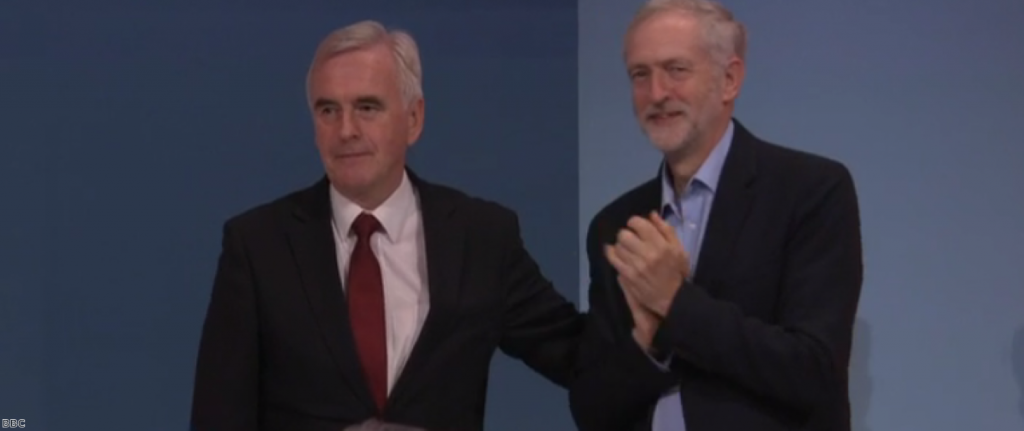 McDonnell with Corbyn at the Labour conference: the men are starting to outline a plan on Brexit