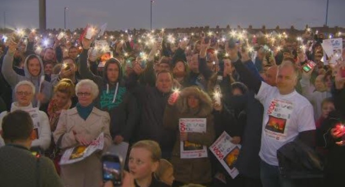 Campaigners at a rally to save the Redcar steelworks