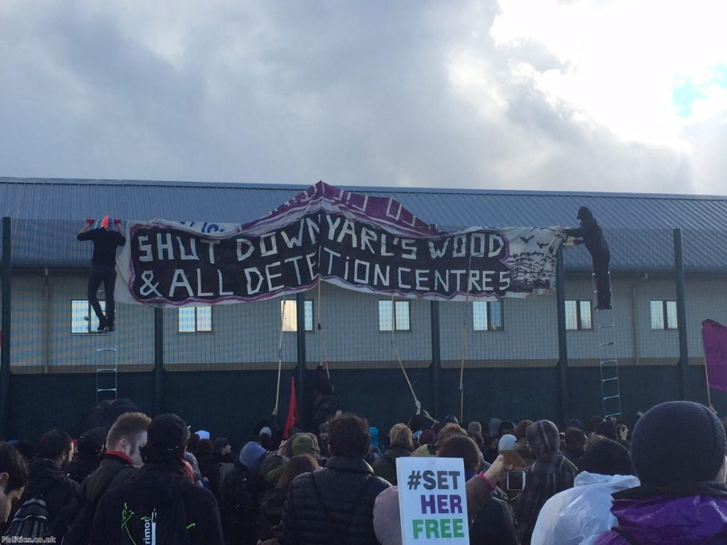 A protest at Yarl's Wood detention centre last year