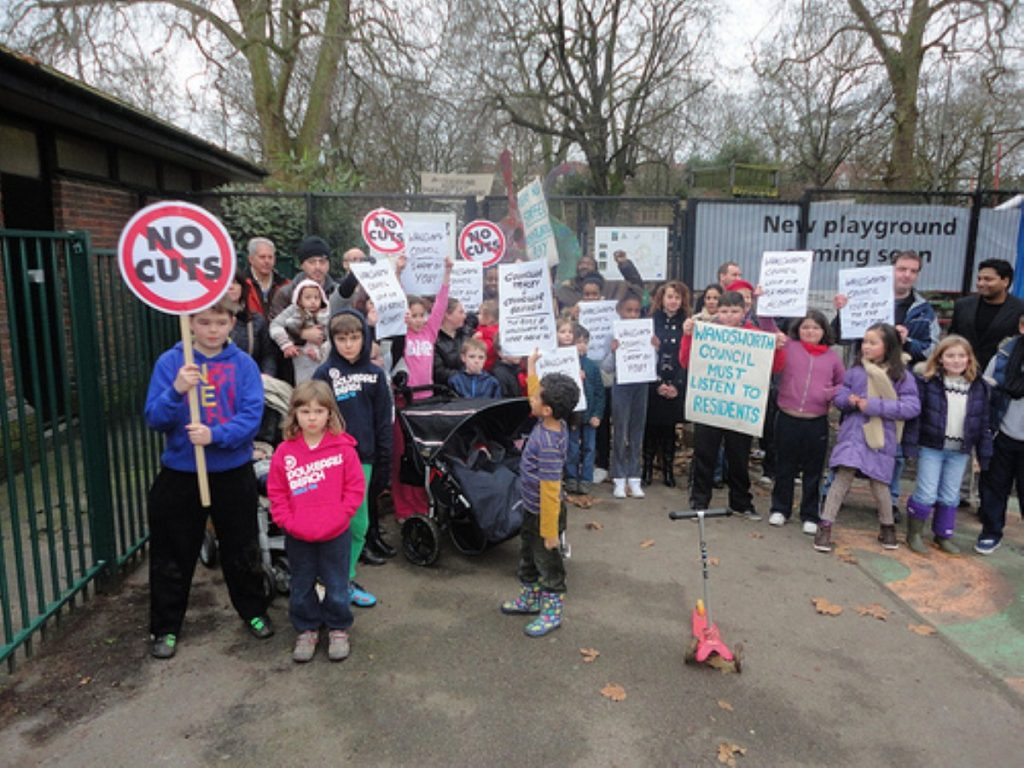 Campaigners protest at Battersea Park over the closure of a supervised adventure playground