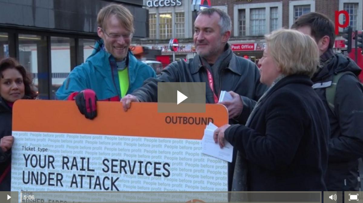 Natalie Bennett protesting outside Kings Cross about train fares rising