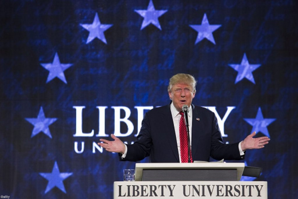 Donald Trump speaks during a Liberty University Convocation in Lynchburg, Virginia