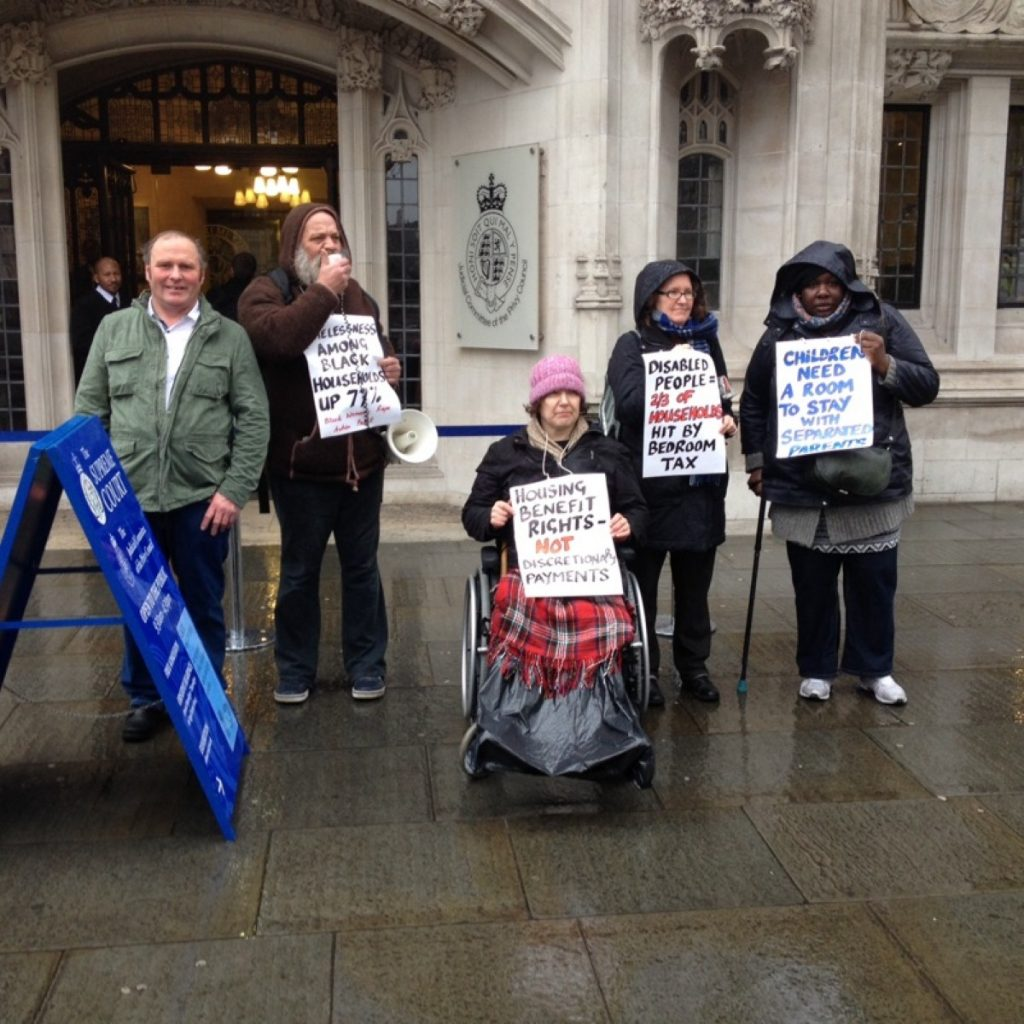 Campaigners outside the Supreme Court last month