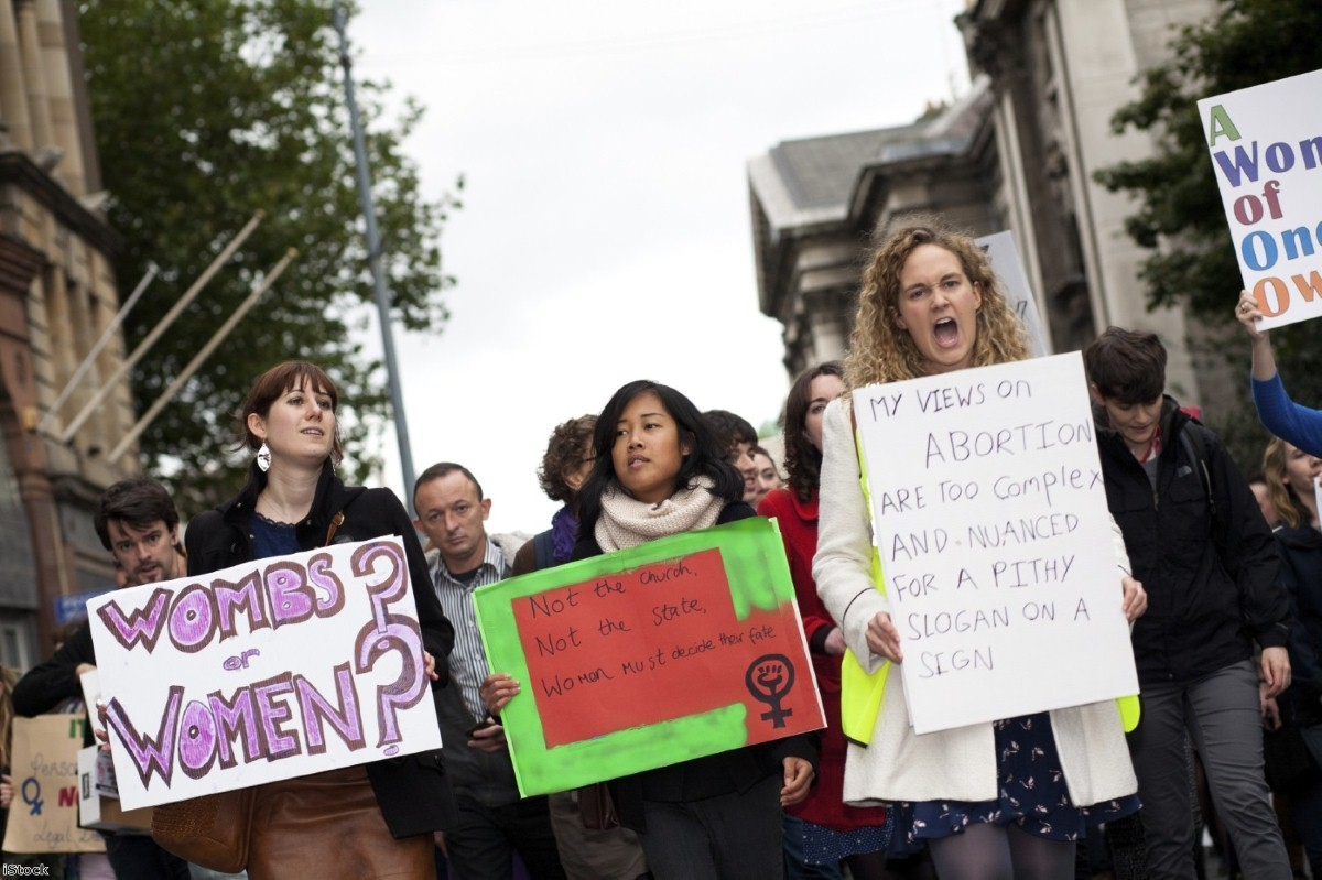 Women march at a pro choice rally in Ireland