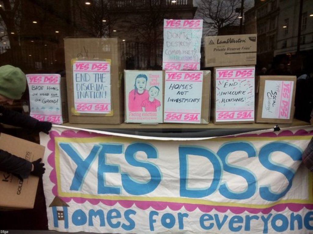 Campaigners protest against letting agents turning away benefit claimants