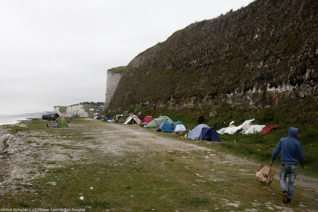 Albanian migrants set up camp in northern France, hoping to cross the English channel into the UK