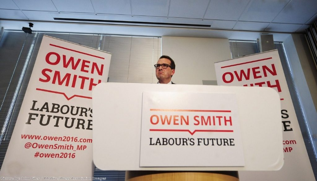 "Owen Smith says he'd like to ""smash"" Theresa May ""back on her heels"""
