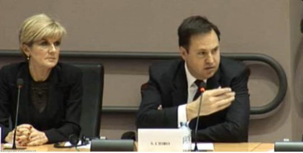 Australian trade minister Steve Ciobo addresses the European Parliament