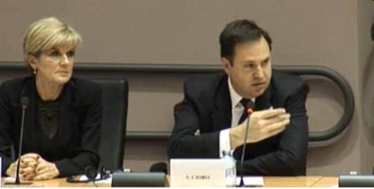 Australian trade minister Steve Ciobo addresses the European Parliament