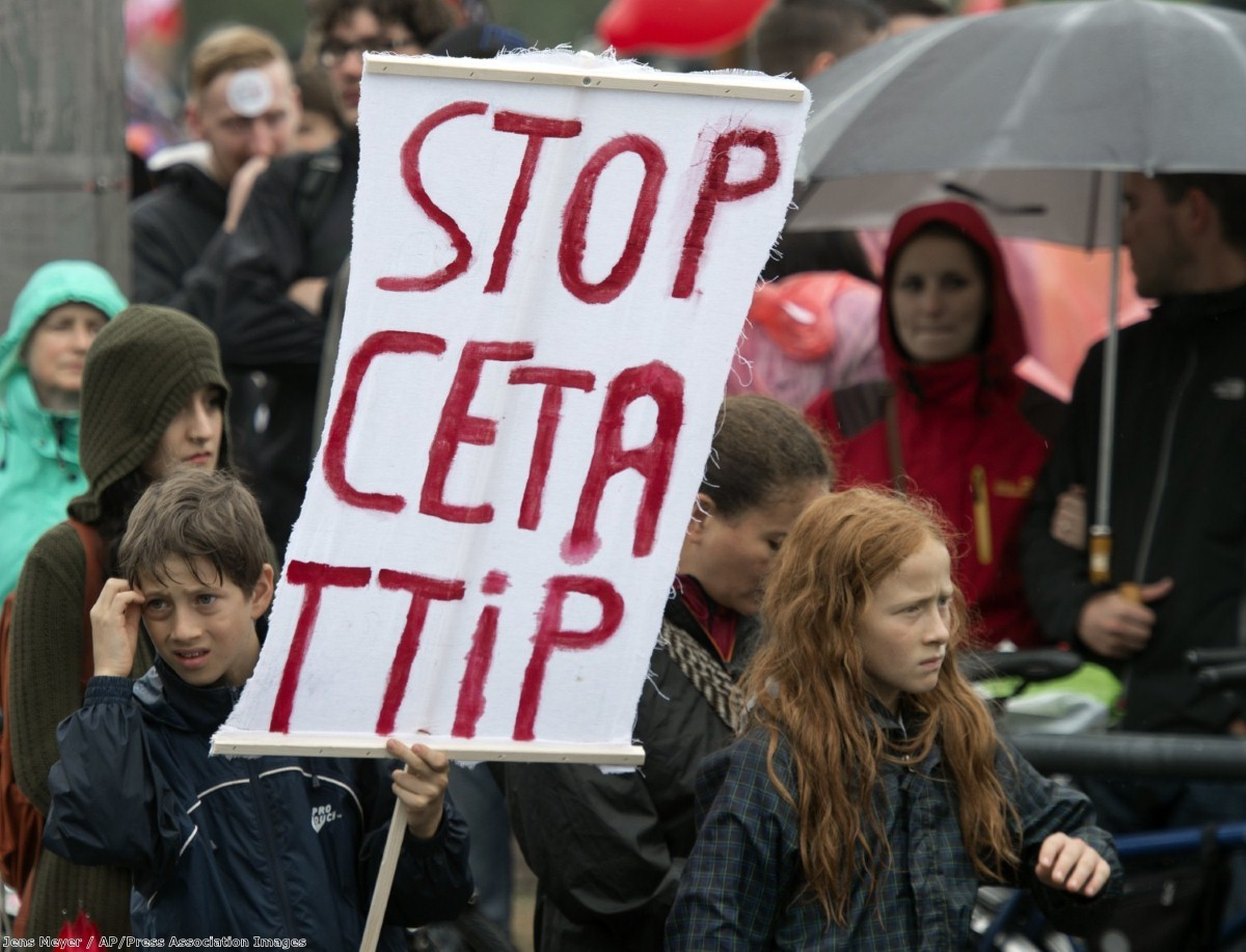 People demonstrate against the TTIP and CETA trade agreements in Germany